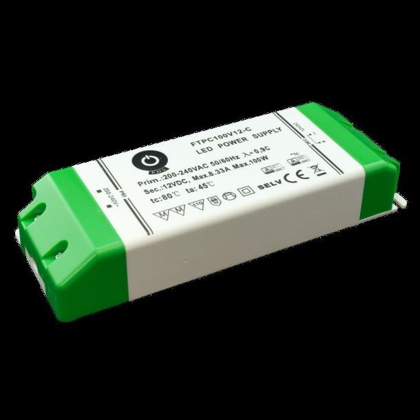 12 VDC Strømforsyning 100W, 8,33 A.