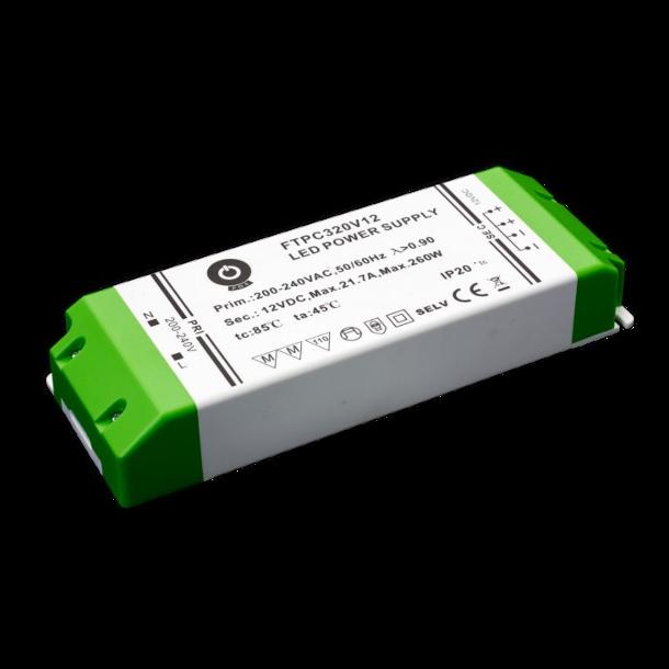 12 VDC Strømforsyning 260W, 21,7 A.
