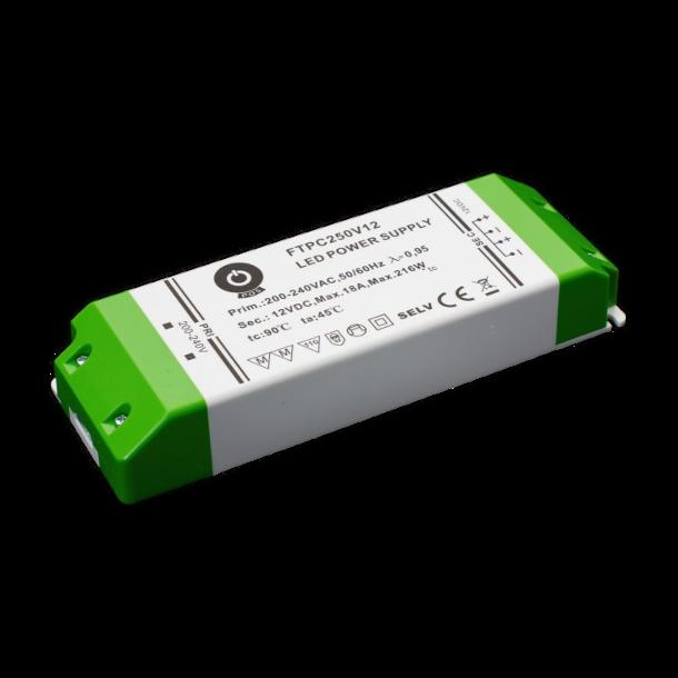 12 VDC Strømforsyning 216W, 18 A.