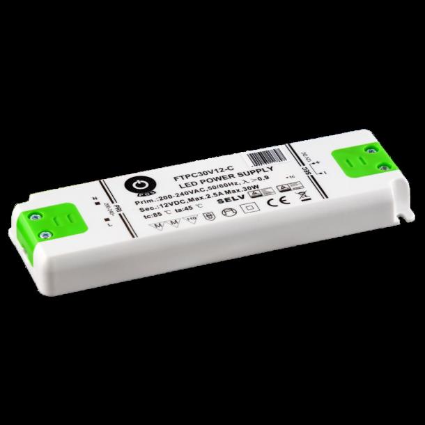 12 VDC Strømforsyning 30W, 2,5A.