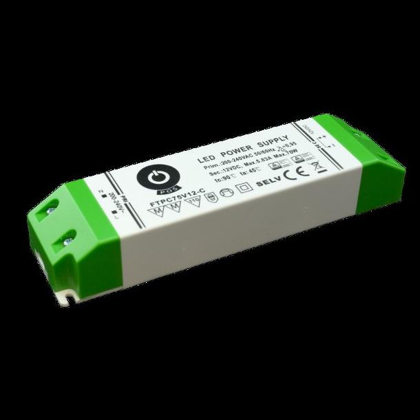 12 VDC Strømforsyning 70W, 5,83 A.