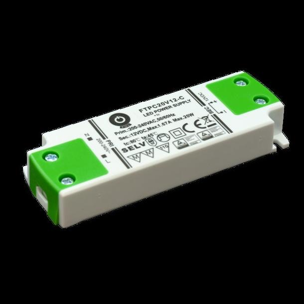 24 VDC Strømforsyning 20W, 0,84 A.